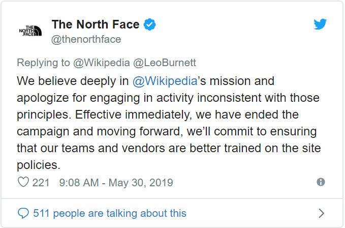 screenshot of The North Face's Tweeted apology for tampering with Wikipedia's destination images